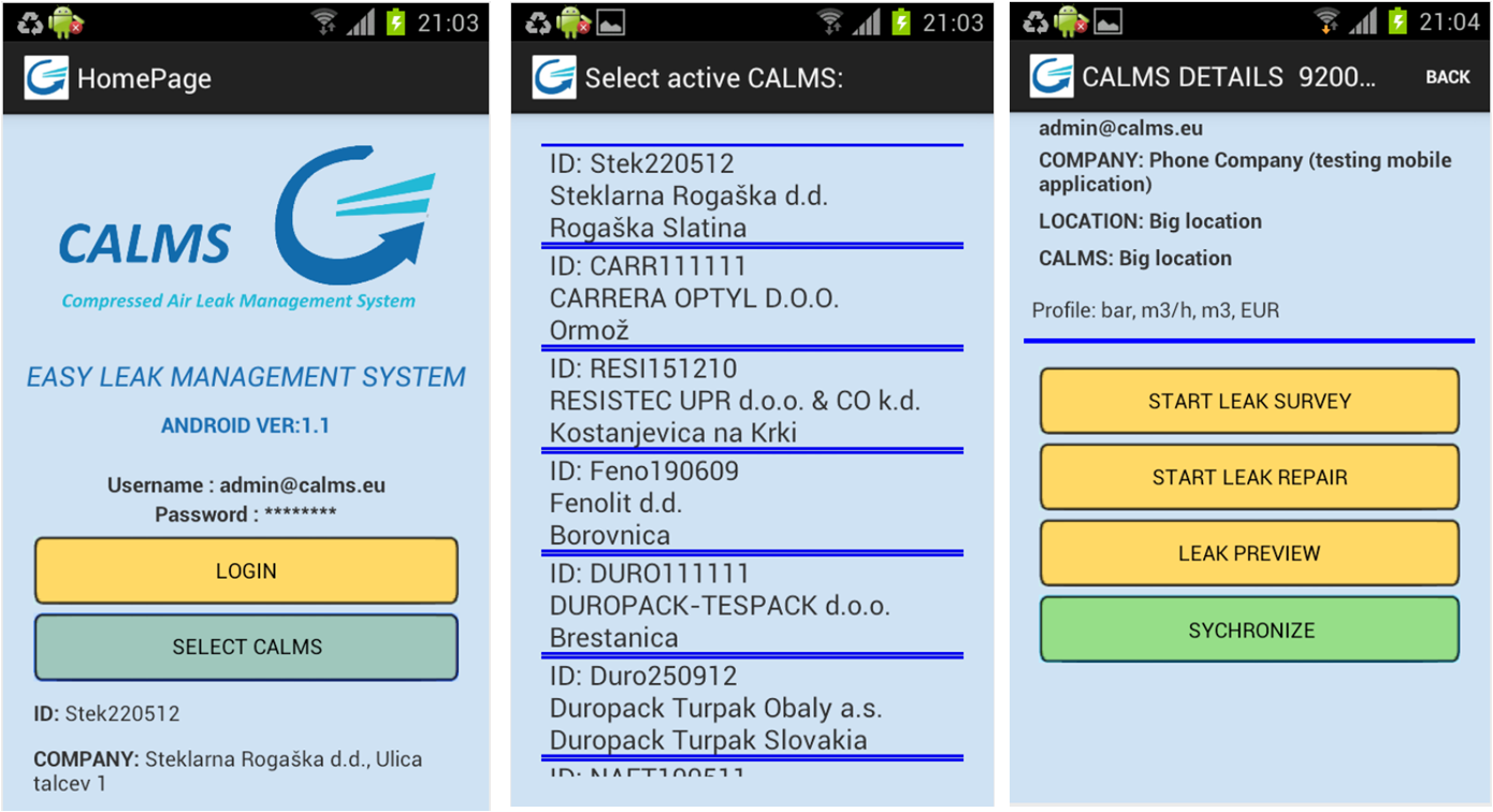 CALMS mobilna aplikacija